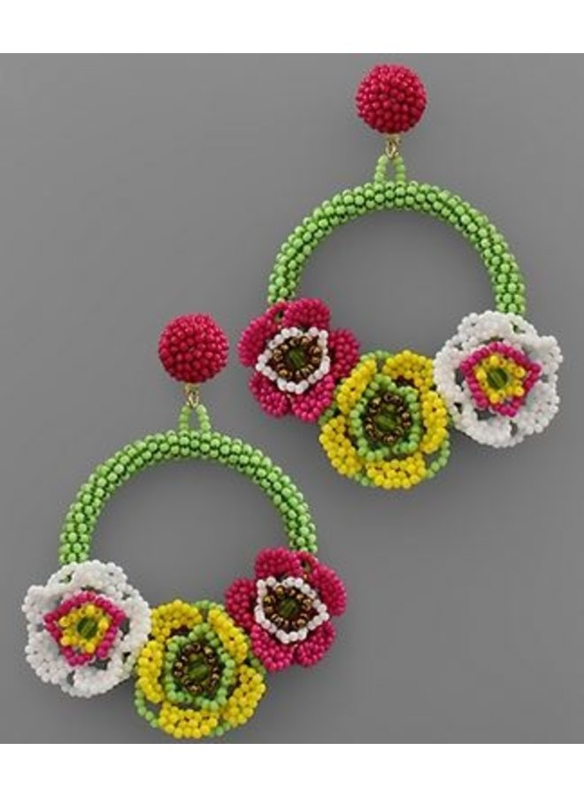 Bead Flower Circle Earrings- Mint/Multi