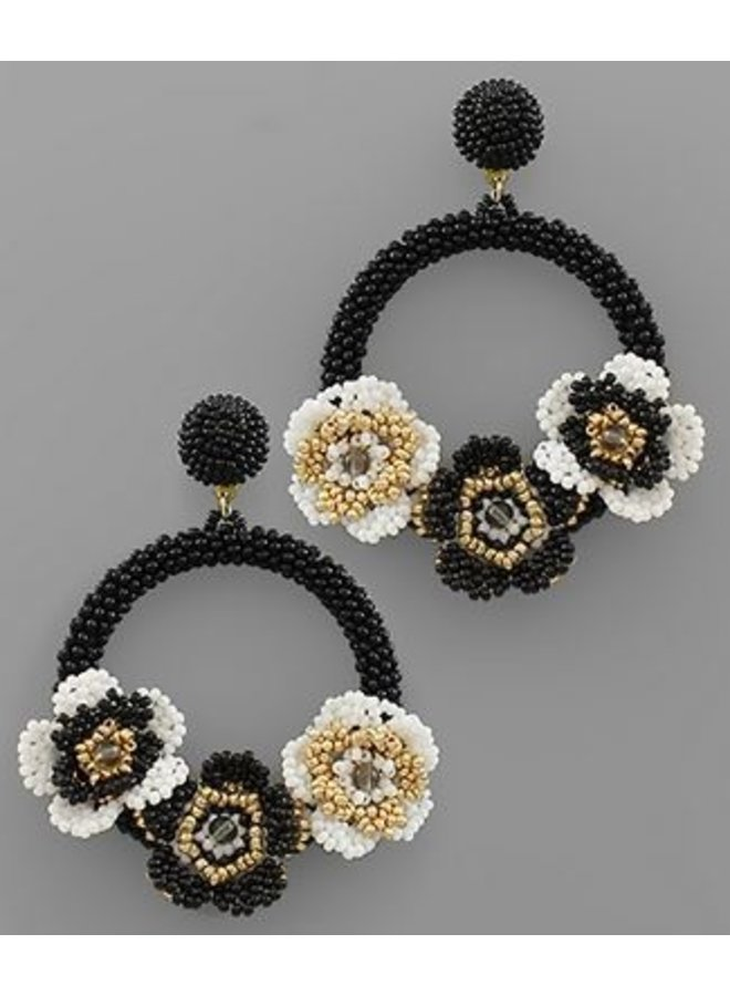 Bead Flower Circle Earrings- Peach/Gold