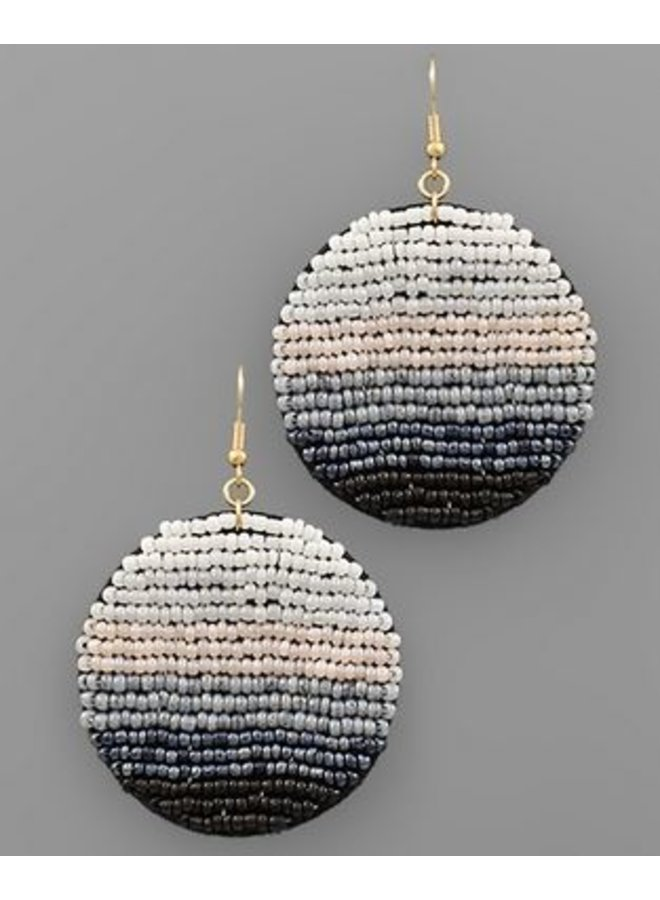 Seed Bead Disc Earrings White/Black/Multi