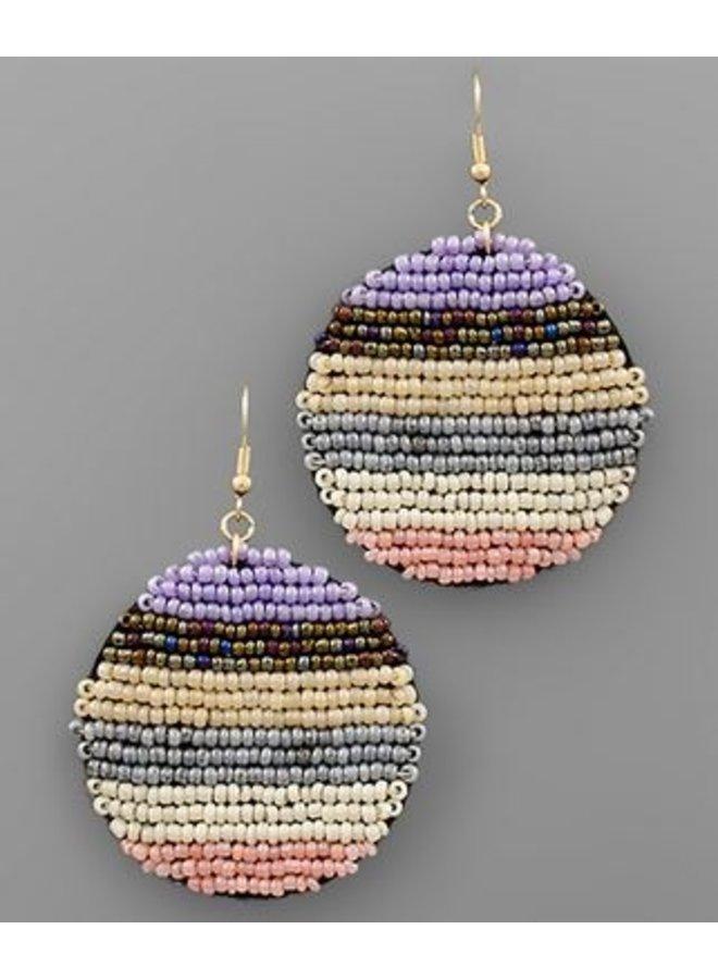 Seed Bead Disc Earrings Purple/Pink