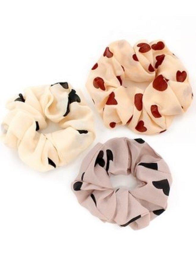 3pc Heart Scrunchie Set