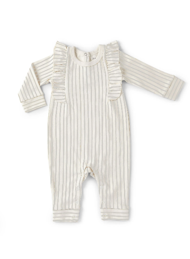 Ruffle Romper - Stripes Away Pebble Grey / 3 - 6 mos.