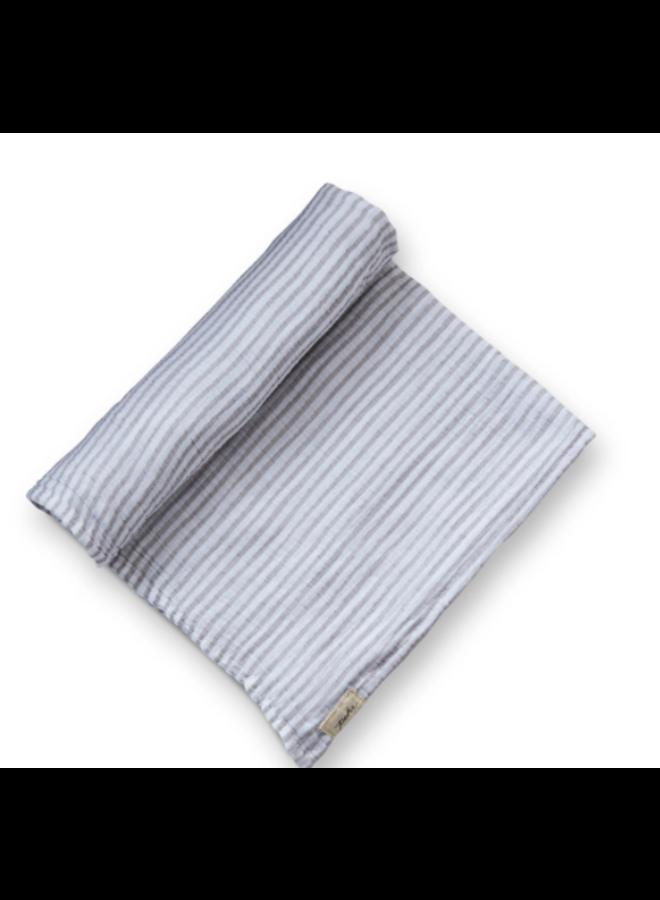 Striped Swaddles - Stripes Away Pebble Grey, Organic