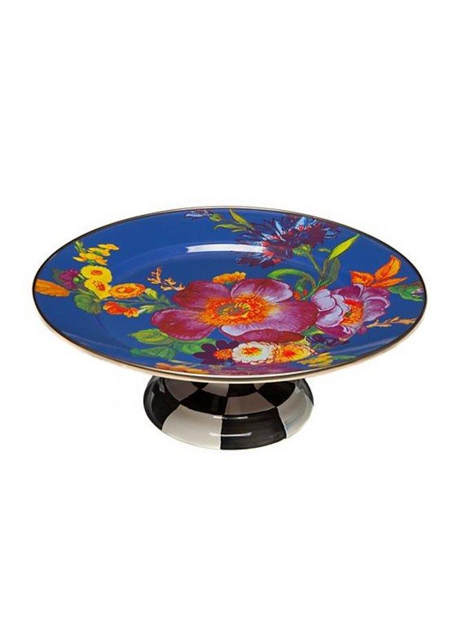 Flower Market Small Pedestal Platter- Lapis