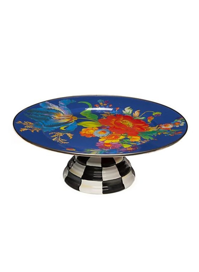 Flower Market Pedestal Platter- Lapis