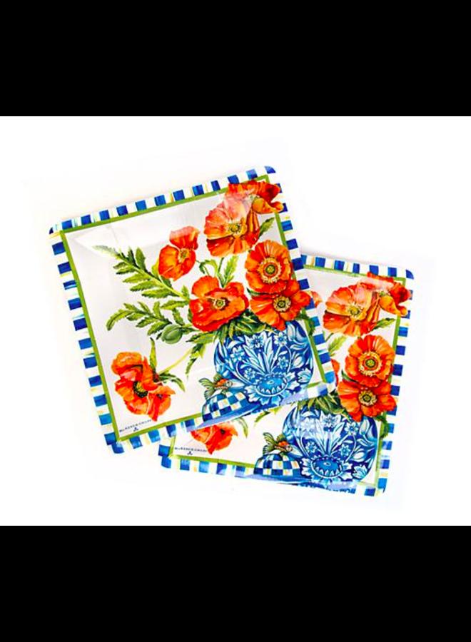 Ming Poppies Paper Plates- Salad/Dessert