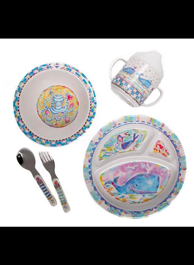 Toddler's Dinnerware Ser- Whale