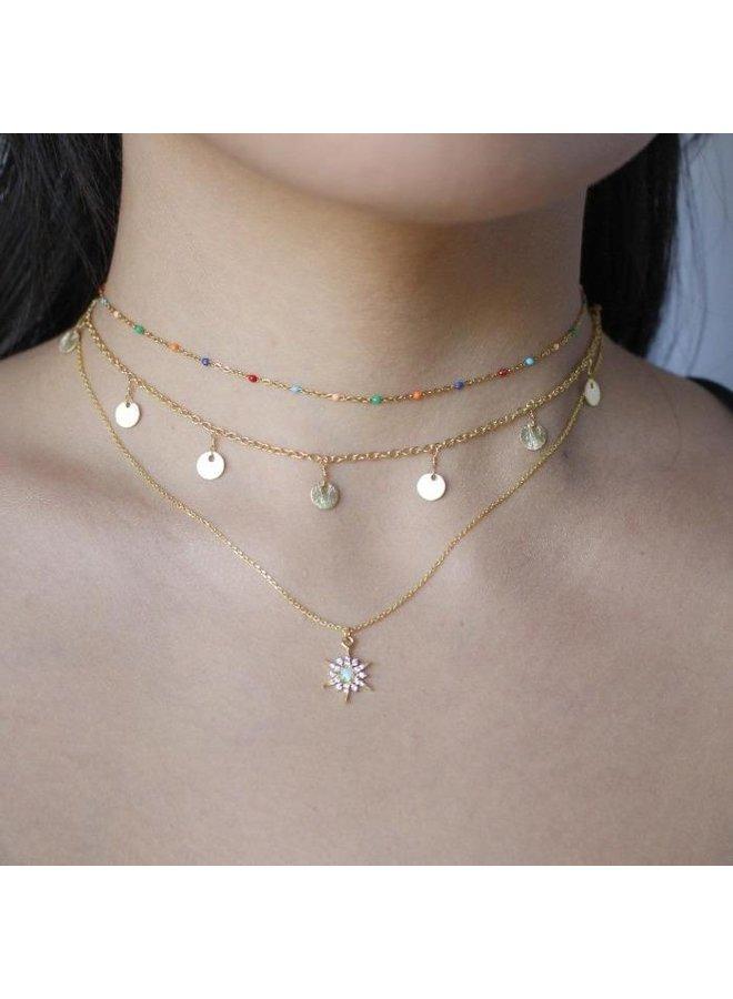 Golden Opal Charm Necklace- Starburst