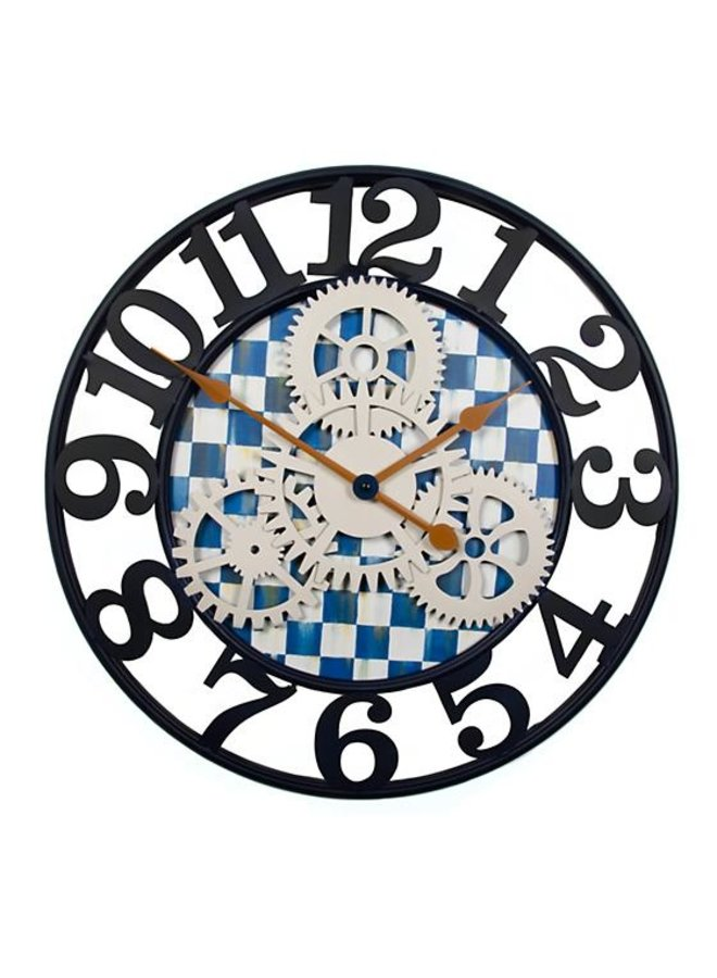 Royal Check Farmhouse  Wall Clock - Small
