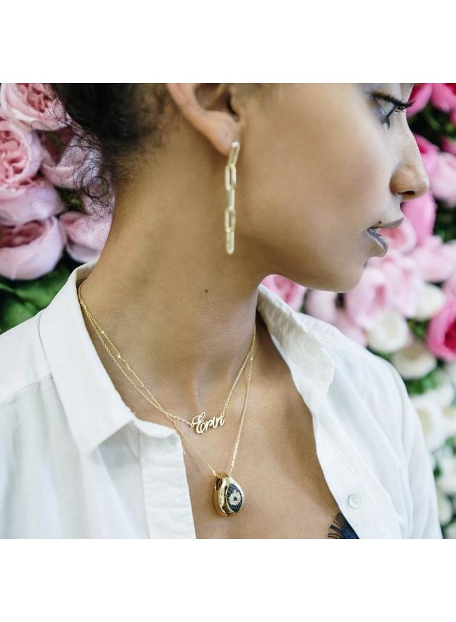 Black Crystal Evil Eye Shell Necklace
