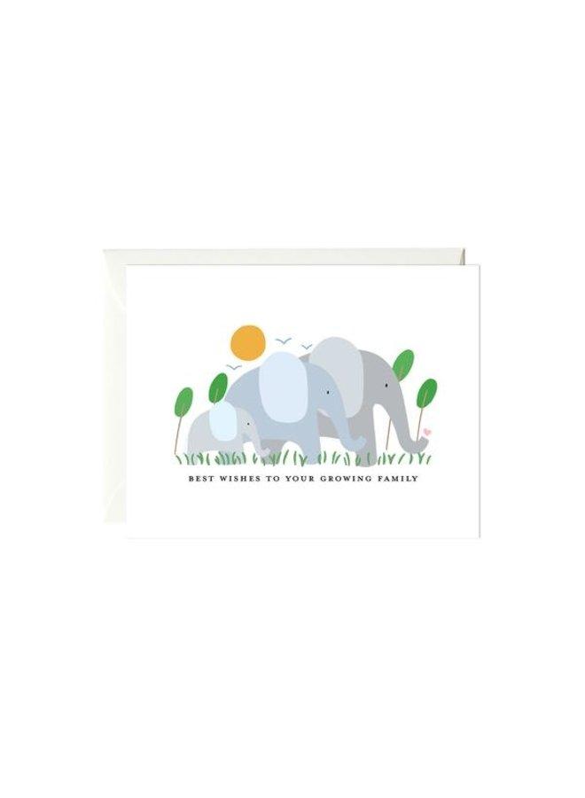 Elephant Family Baby Card