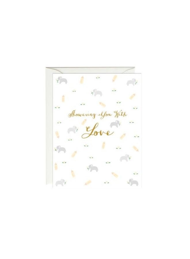 Elephant Baby Shower Gold Foil Card
