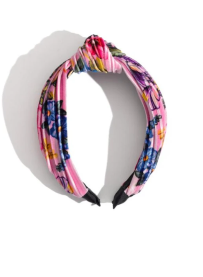 Ruched Top Knot Floral Headband