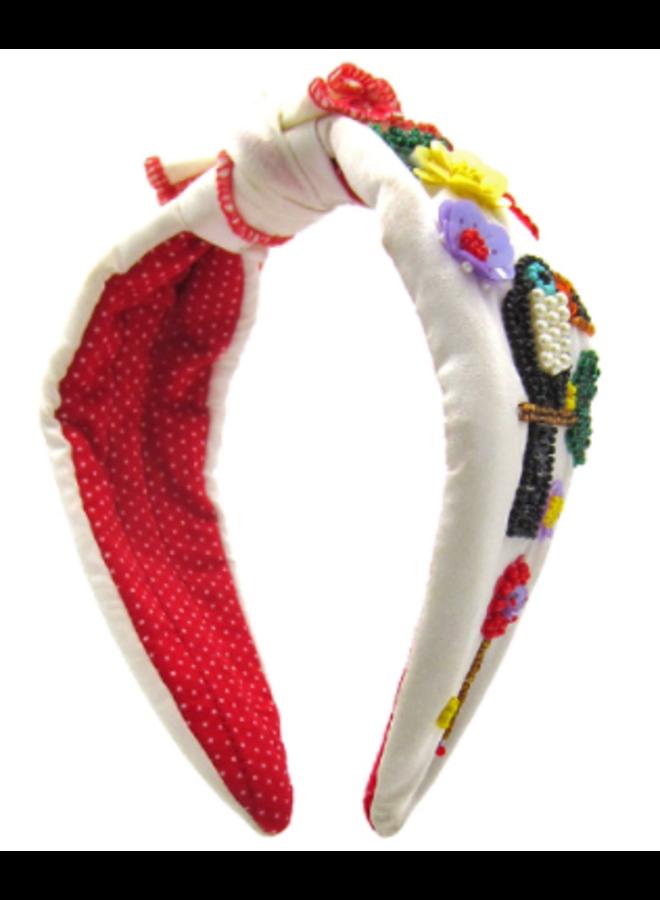 Toucan & Flower Beaded Headband