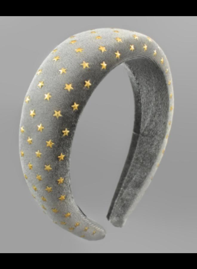 Star Studded Velvet Headband Gray