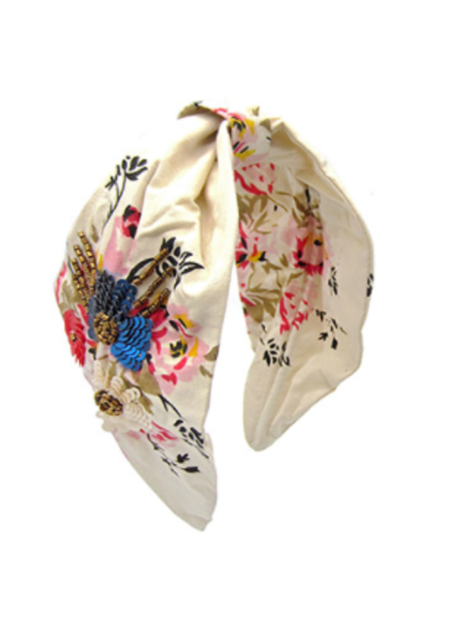 Floral Print & Beaded Headband
