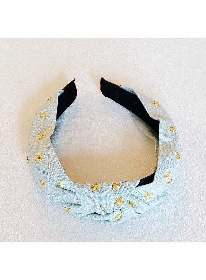 Gold Stars Knotted Headband - Light Blue