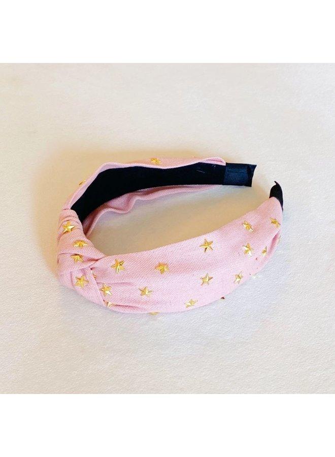 Gold Stars Knotted Headband - Pink