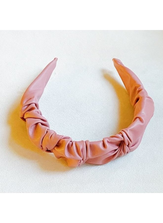 Scrunched Vegan Leather Headband - Pink