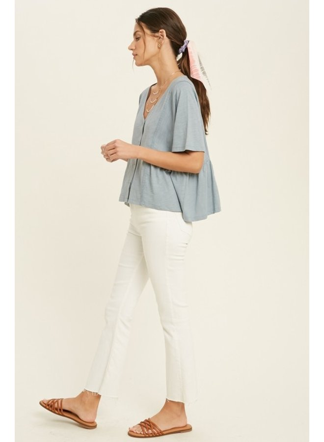 Lace Trim Button Top