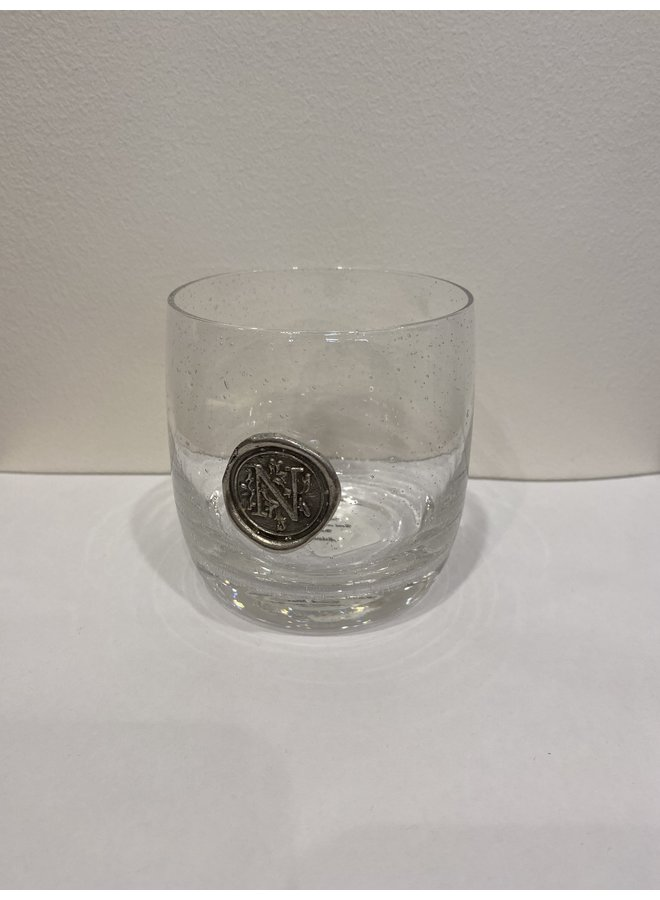 Double Old Fashion Glass -Initial N