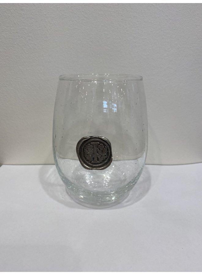 Stemless Wine Glass-Initial I