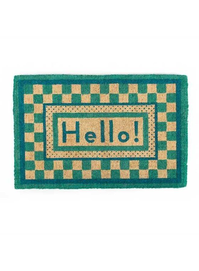Hello Entrance Mat - Aqua