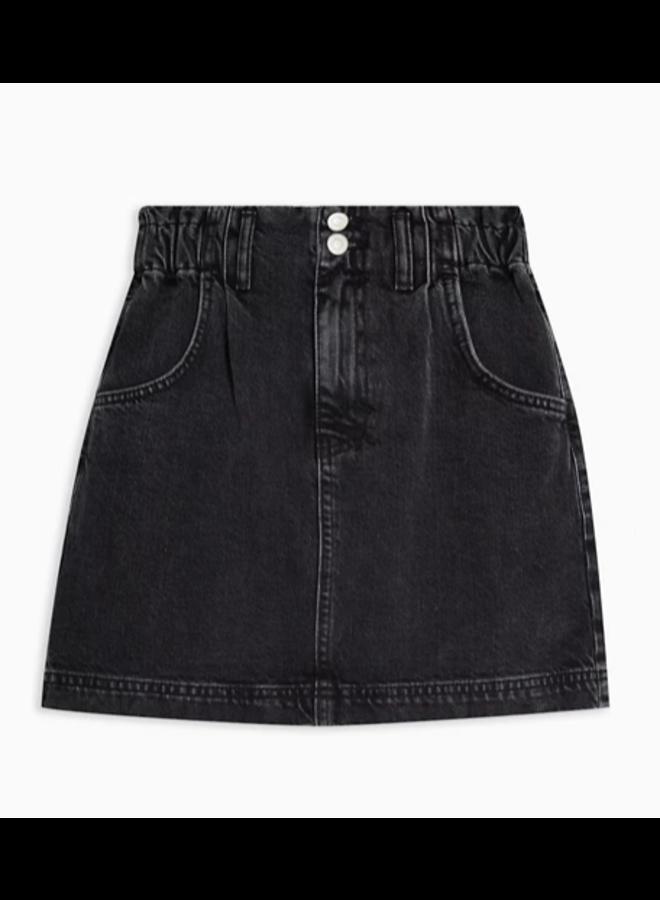Black Wash Paperbag Skirt