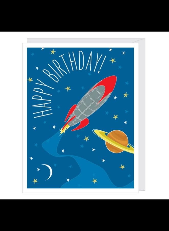 Rocket Greeted Birthday Card