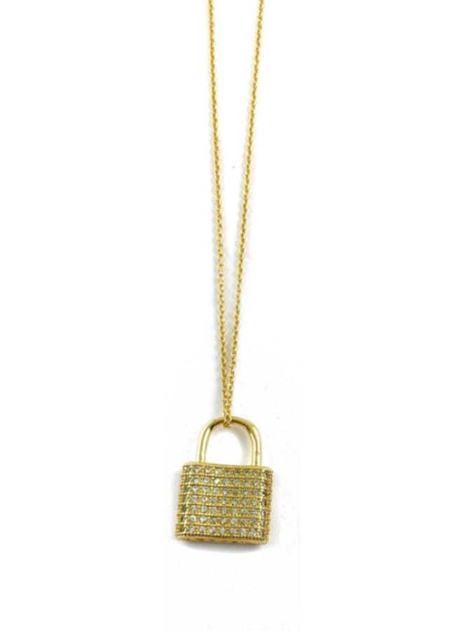 Frankie Gold Necklaces- Crystal Lock