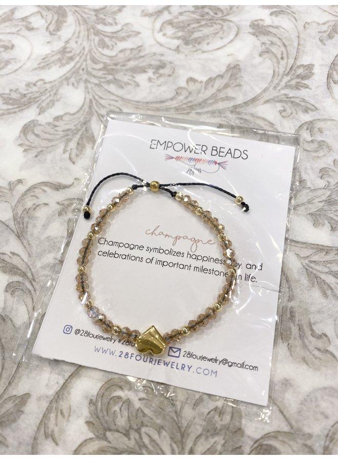 Adjustable Beaded Heart Bracelet - Champagne