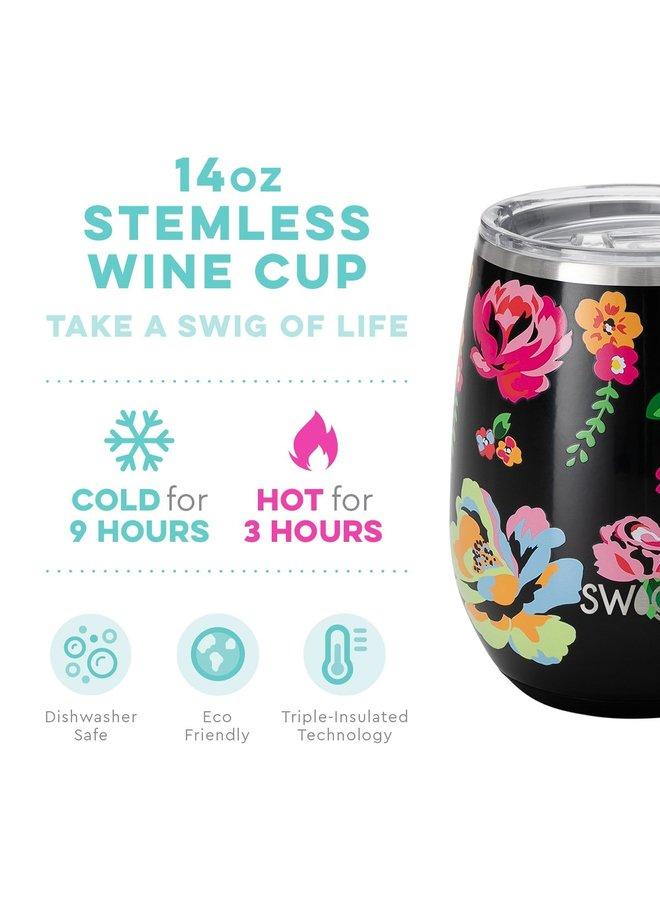 14oz Stemless Cup - Fleur Noir