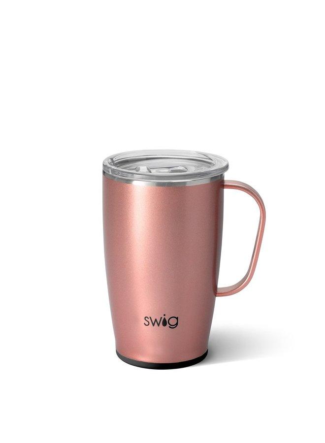 18oz  Travel Mug with Handle- Rose Gold