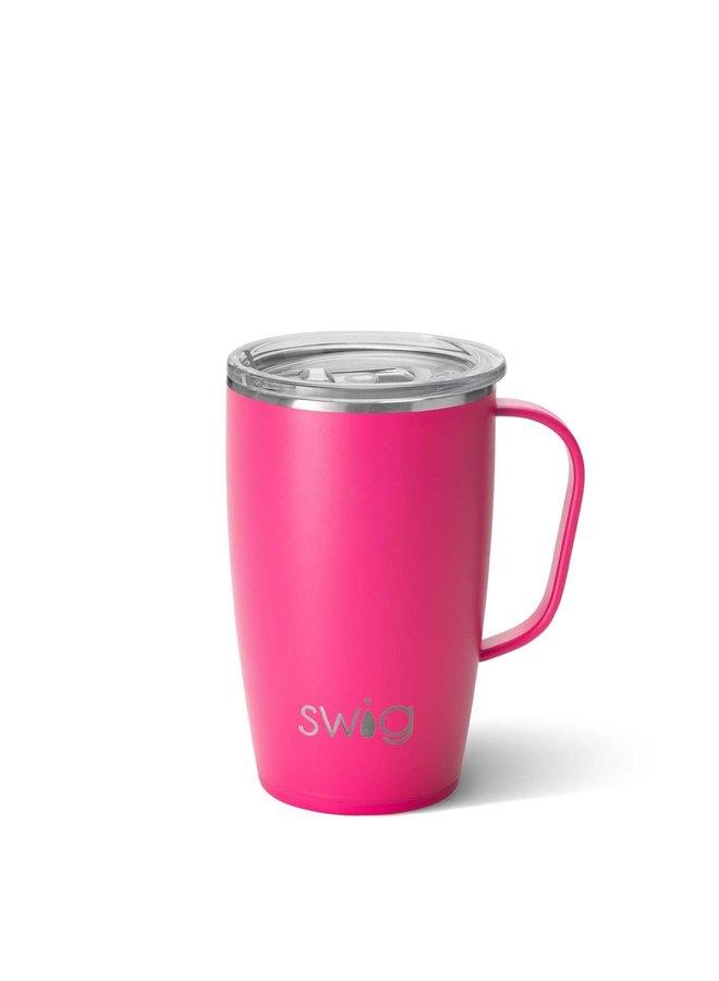 18oz  Travel Mug with Handle- Matte Pink