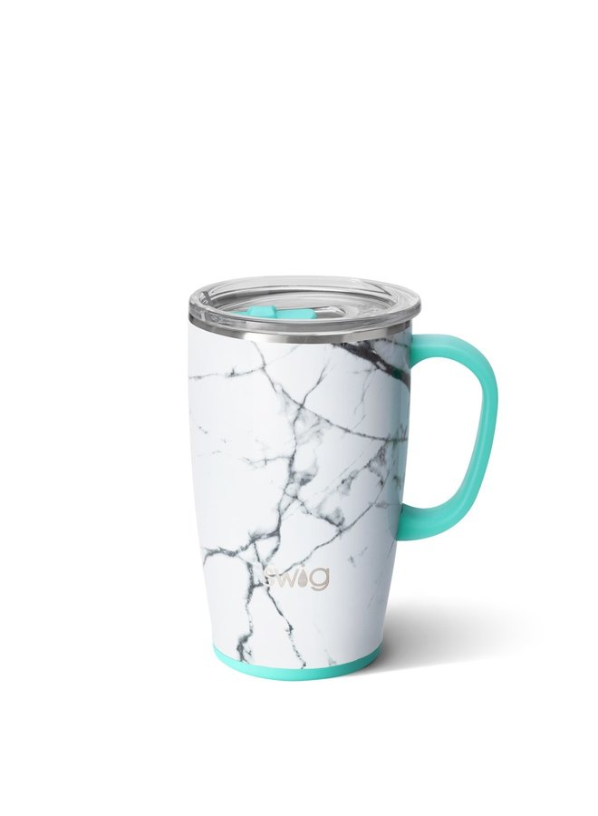 18oz  Travel Mug with Handle- Marble Slab