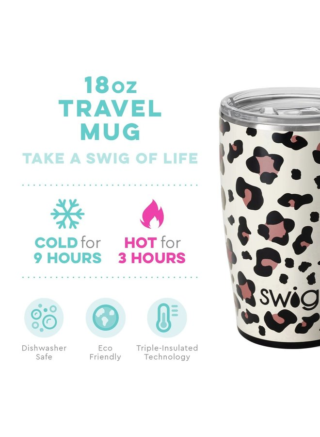 18oz  Travel Mug with Handle- Luxy Leopard