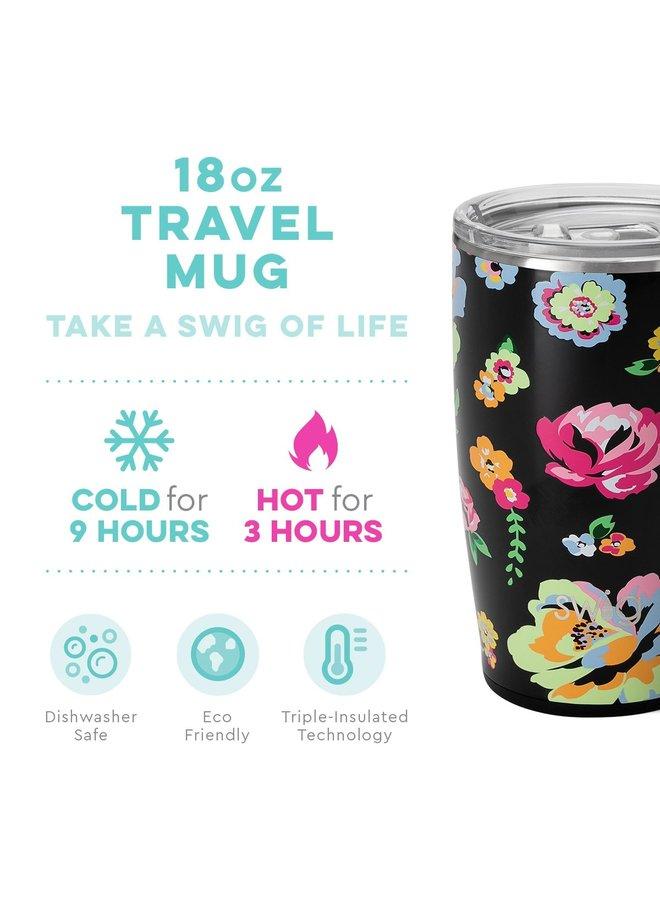 18oz  Travel Mug with Handle- Fleur Noir