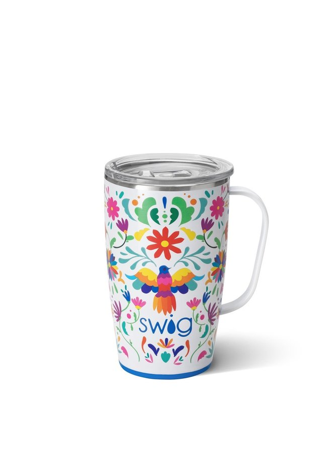 18oz  Travel Mug with Handle- Viva Fiesta