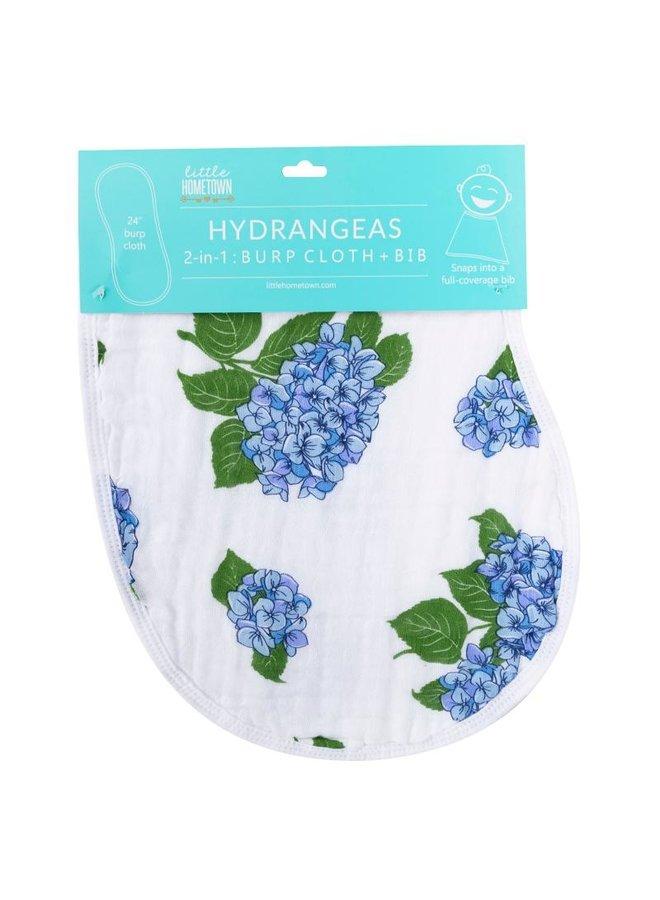 Hydrangeas Burp/Bib Combo
