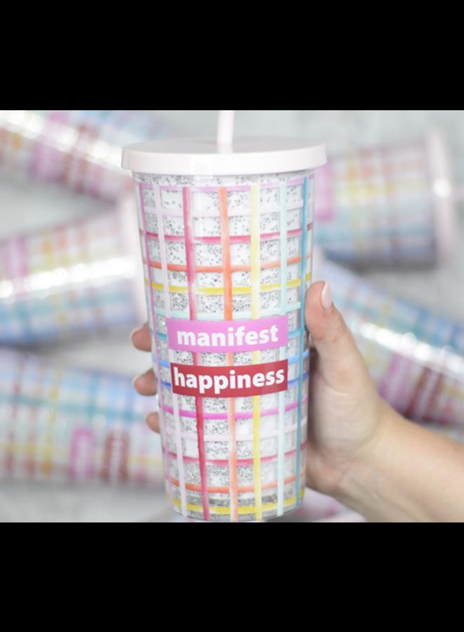Manifest Happiness Glitter Tumbler