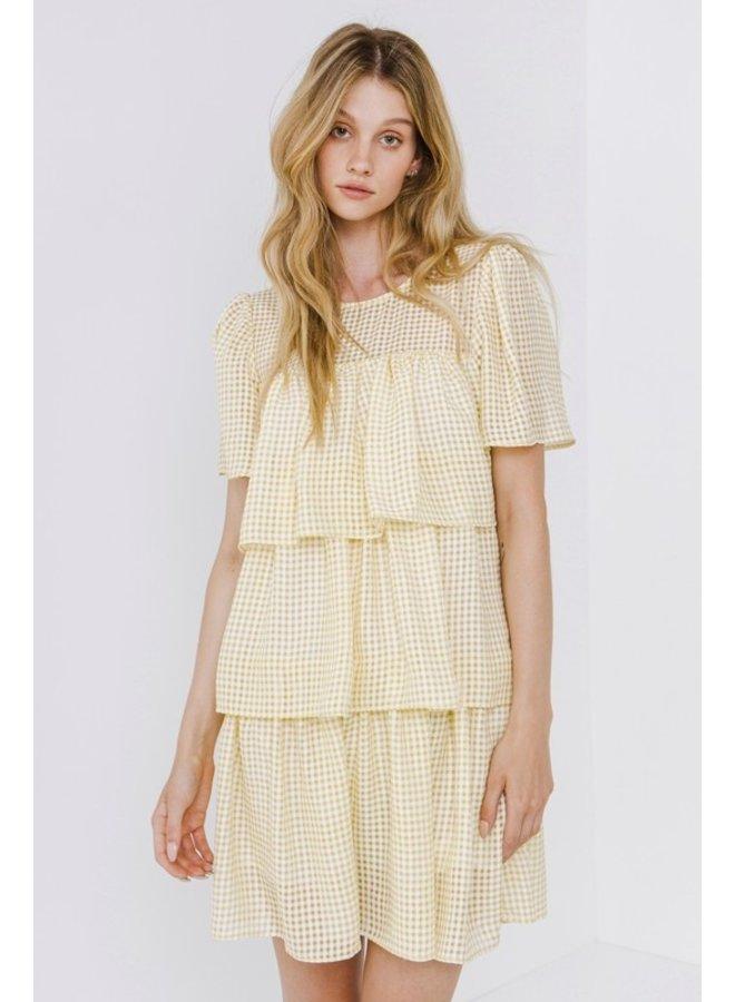 Gingham Tiered Mini Dress