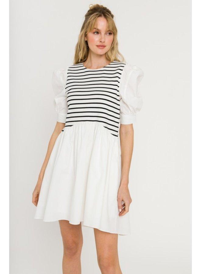 High Low Striped Knit Combo Dress