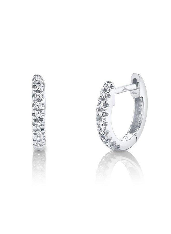 14K White Gold Diamond Mini Huggie Earring (0.04ct)