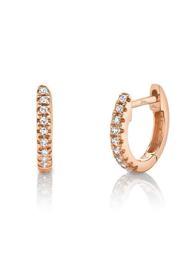 14K Rose Gold Diamond Mini Huggie Earring (0.04ct)
