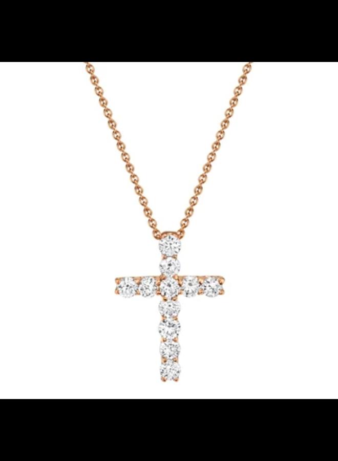 14K Rose Gold DIamond Cross Necklace (0.32ct)