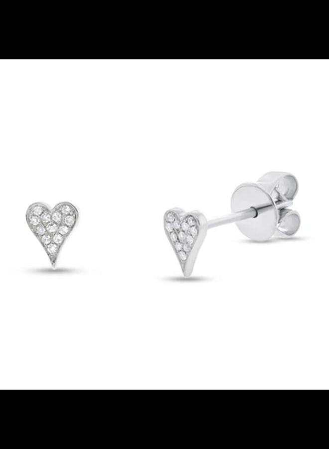 14K White Gold Mini Diamond Pave Heart Earrings (.05CT)