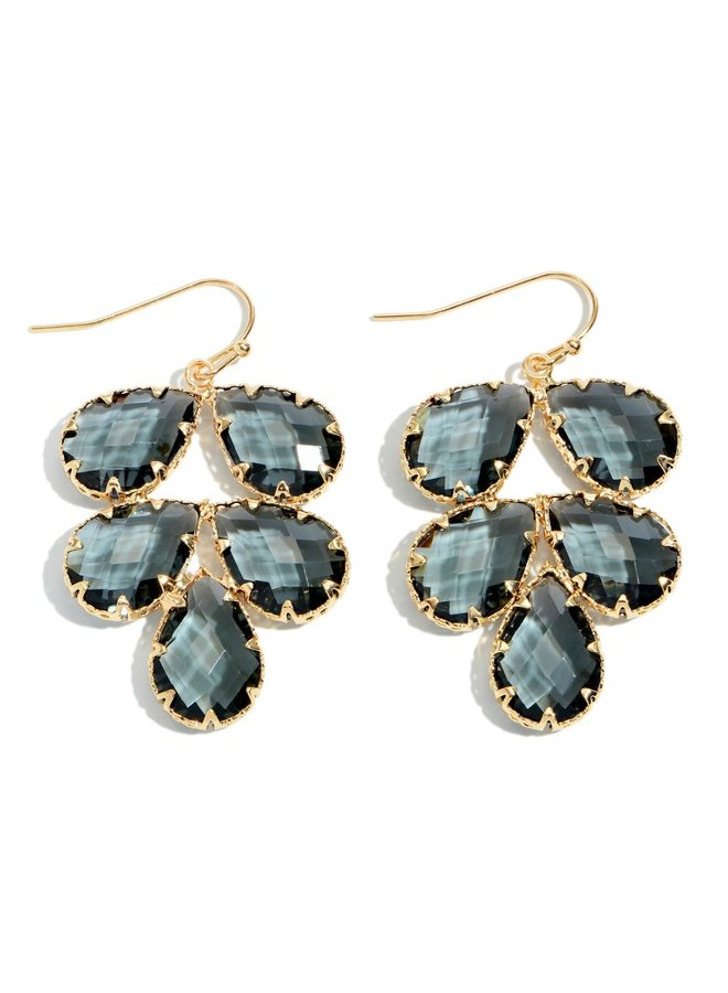 5 Stone Petal Drop Earrings