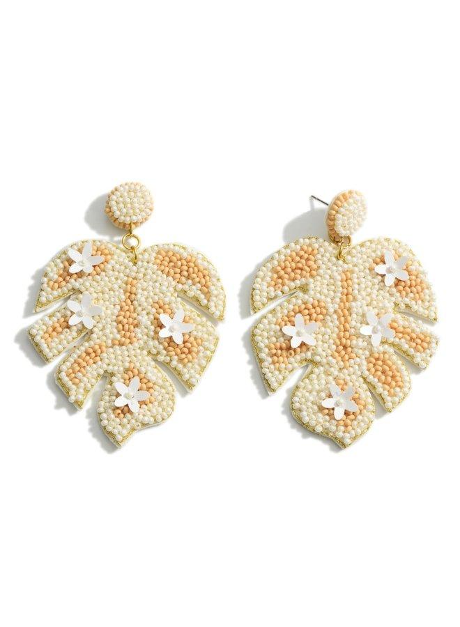 Beaded Leaf Drop Earrings - Ivory