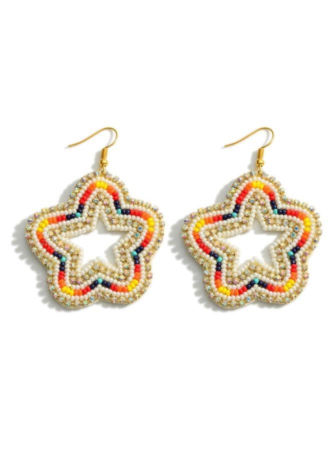 Beaded Star Earrings -