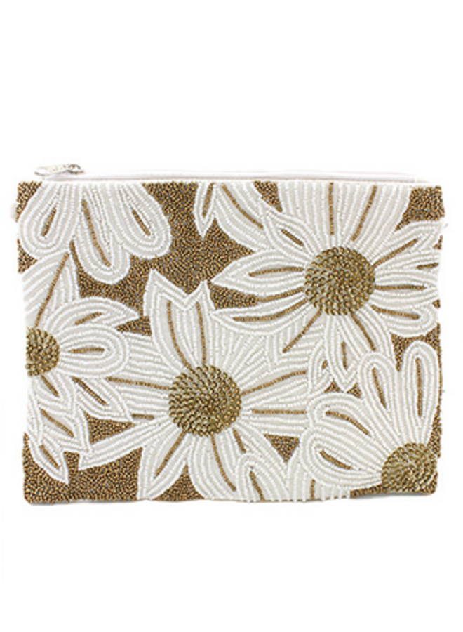 Floral Beaded Clutch -White/Gold